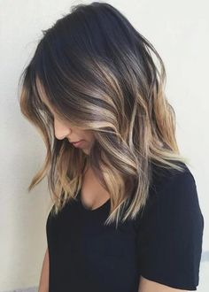 Ombre hair color for brunettes, beautiful hair color, balayage hairstyle,. Best Ombre Hair, Ombre Hair Color, Hair Color Balayage, Cool Hair Color, Blonde Balayage, Balayage Highlights, Hair Colour, Color Highlights, Caramel Highlights