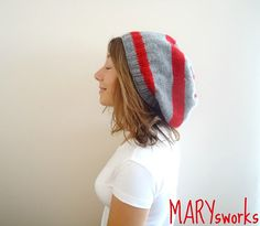 RED and GRAY knitted Slouchy Beanie   Autumn Winter by MARYsworks, $33.00