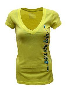 Hurley Women's Perfect V Tee - Citron Yellow - #WVU West Virginia Mountaineers