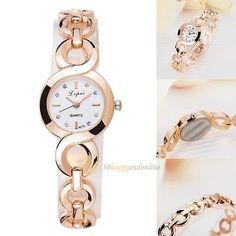 Luxury Fashion Women's Crystal Stainless Steel Quartz Analog Wrist Watch Casual