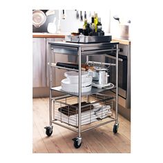 GRUNDTAL Kitchen cart IKEA Gives you extra storage, utility and work space. under pot/pan rack. could hold mixer, lids, etc?