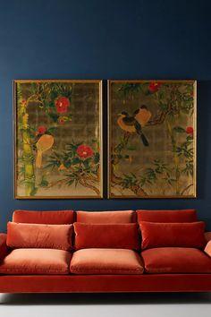 Bird Wall Art, Wall Art Decor, Wall Décor, Murs Oranges, Orange Couch, Orange Walls, Orange Rooms, Rust Orange, St Just