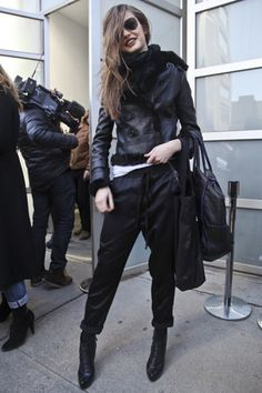 Leather jacket and wavy hair after Rodarte's show.