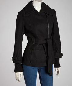 Take a look at this Black Belted Asymmetrical Melton Wool-Blend Jacket - by kensie on #zulily today!