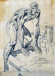 216 best KIRBY images on Pinterest   Comic book  Comic books and Comics A 1967 Jack Kirby sketch of Spider Man
