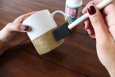 DIY Glitter-Dipped Mugs  - Darby Smart