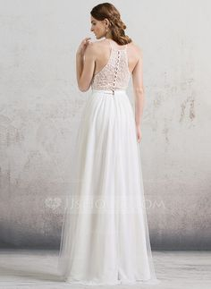 A-Line/Princess Scoop Neck Floor-Length Tulle Wedding Dress With Beading (002088486)