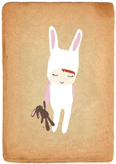rabbit illustration    @Misie Litschewski (reminds me of you!)