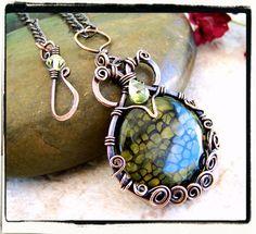 Green Dragon Vain Agate Gemstone Pendant with Chain