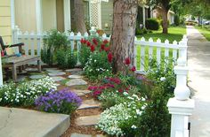 Cottage garden - small front yard with picket fence, corner tree, flagstone path