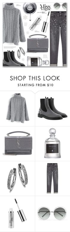 """""""Grey"""" by ames-ym ❤ liked on Polyvore featuring Chicwish, Balenciaga, Yves Saint Laurent, Serge Lutens, Karl Lagerfeld, Chloé, monochrome, turtleneck, contestentry and croppedjeans"""