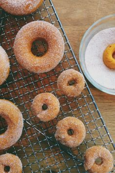 Super-delicious doughnuts from yellow cake mix and a can of pumpkin puree!