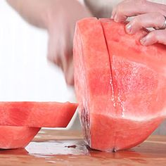 Test Kitchen Director Robby Melvin demonstrates the best way to cut a watermelon into bite-sized pieces.See More: Best Watermelon Recipes