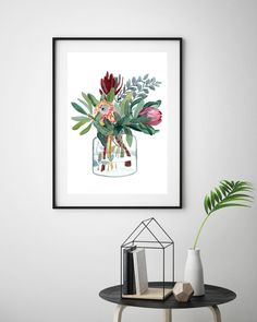 New Protea print, Fresh off the Press. Available in size, only 100 prints in circulation. Art Prints For Home, Wall Art Prints, Let's Make Art, Contemporary Art Prints, Native Art, King Protea, Watercolor Print, Original Paintings, Canvas Art
