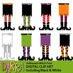 Fun clipart for making Halloween activities for kids. Halloween witch feet in fun colors. Black and white version is also included. It will be fun to use this collection for any school and classroom projects such as for creating bulletin boards, study materials, learning worksheet, activities and games, and for