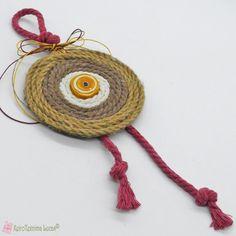 Κίτρινο Boho γούρι με σχοινί και κεραμικό μάτι Boho, Crochet Earrings, Jewelry, Jewlery, Jewerly, Schmuck, Bohemian, Jewels, Jewelery