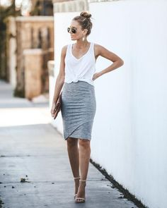 Let our Stuck On You Cotton + Modal Pencil Skirt hug you in all the right places! This adorable faux wrap skirt comes in a super soft + stretchy fabrication with an elastic waistband to give you optim Pencil Dress Outfit, Pencil Skirt Casual, High Waisted Pencil Skirt, Pencil Dresses, Outfits With Pencil Skirts, Mini Skirts, Casual Skirts, Women's Casual, Casual Fall