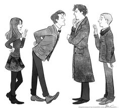 You know, this picture is really perfect. The Doctor is immediately interested in who Sherlock is. Sherlock is trying to deduce him, but having some trouble, given he is an alien and all. Clara is waving to John, trying to be friendly, and of course John picked out the girl of the group to pay attention to.