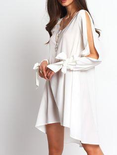 White+Bow+Cut-out+Sleeve+Dip+Hem+Dress+17.99