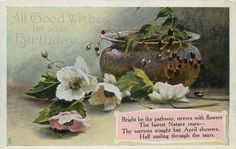 TUCK BIRTHDAY floral GEM GLOSSO, PRINTED IN ENGLAND, same images and verses Christmas C 4013