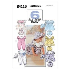 Infants' Dress, Panties, Jumpsuit and Hat-All Sizes in One Envelope Pattern, , hi-res