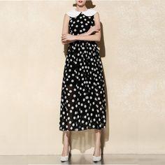 Free Shipping Summer 2014 Sleeveless Dots Printed Long Dress 0617HU4032 $67.00