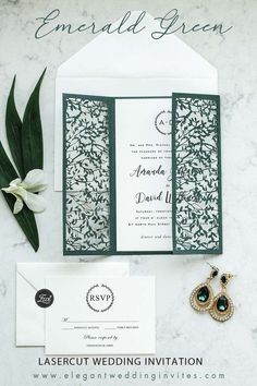delicate outdoor emerald green leaves mesh laser cut wedding invitations for fall winter wedding ideas