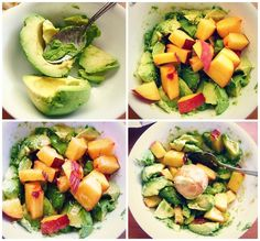 Instead of adding a dressing to the salad, I made a chunky avocado peach topping to replace the dressing.