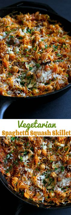 Vegetarian Spaghetti Squash Skillet…This satisfying meatless meal is filled with mushrooms, chickpeas and a marinara sauce! 143 calories and 3 Weight Watchers SmartPoints