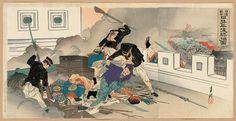 Ogata Gekko: Sino-Japanese War: Japanese Military Might Captures Pyongyang (Nisshin sensô, Nissei Heijô shôhô zu) - Museum of Fine Arts