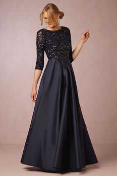 mother of the bride dress with  lace sleeves,long satin formal evening dress