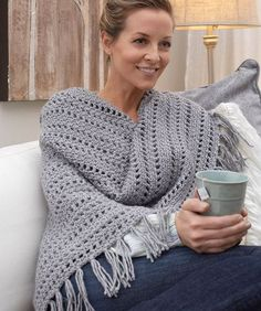 *CW Genuine Pleasure Shawl - free crochet pattern by Jamie Swiatek for Red Heart. Worsted weight.