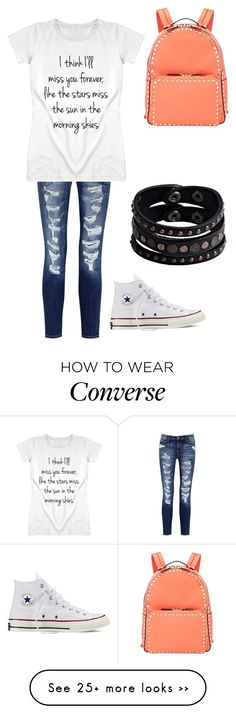 """""""School Day//Allesyn"""" by fashion-iconers on Polyvore featuring Current/Elliott, Converse, Valentino and Replay"""