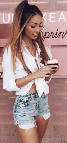 #summer #flawless #outfitideas | White + Denim