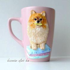 Шпиц #полимернаяглина #пластика #кружкавподарок #кружка #кружканазаказ #ручнаяработа #ярмаркамастеров #шпиц #polymerclay #mug #handmade #cup #livemaster