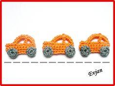 Häkelapplikationen - ♥ Drei kleine Autos - Häkelapplikationen ♥ - ein Designerstück von Evjans bei DaWanda