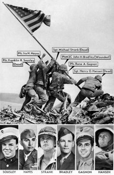 The men who raised the flag on Iwo Jima in Joe Rosenthal's iconic photo from 1945.