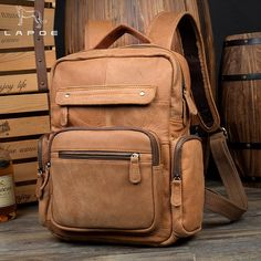 aeebe3bb06 LAPOE Vintage Casual Genuine Leather Cowhide Men Women Male Large Capacity Travel  Backpack Shoulder Bag Bags Backpacks For Man