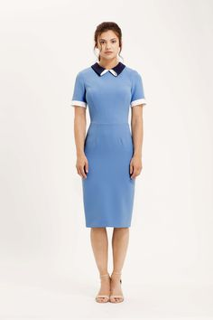 The Tate pencil dress with short sleeves, contrasting collar and cuff detailing. Cornflower blue, navy and cream