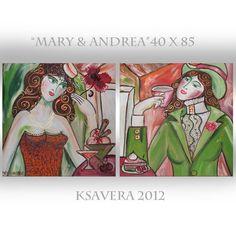 KSAVERA Mary&Andrea 40x85 Original Jugendstil Akt von KsaveraART