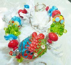 Lampwork Bracelet CORAL REEF by adamarisdesigns on Etsy, $ 129.00