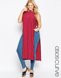 d4a8f436603 ASOS CURVE Maxi Tunic In Stripe at asos.com. Fashionable Plus Size ...