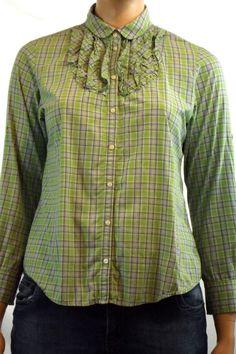 Women's Gap Long Sleeve Ruffle Front Green Plaid Button Up Blouse Sz M #Gap #Blouse #Career