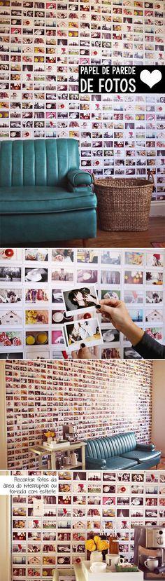 Um papel de parede único, feito com suas próprias fotos, ou seja, ninguém mais vai ter igual! Essa parede ficou um sonho, né?