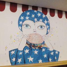 Mural de @Coco_Escribano en la Hamburgueseria Heroismo (calle Heroismo n°22) #zaragoza
