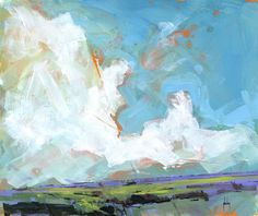 Semi-abstract landscape original painting - Sky four-massif