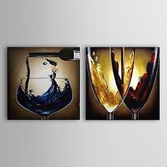 Hand Painted Oil Painting Still Life Wine Glass with Stretched Frame Set of 2 1306-LS0340 – USD $ 124.99