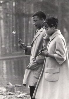"Sidney Poitier & Diahann Carroll (on location for movie shoot, ""Paris Blues""), Bois de Boulogne, Paris, Diahann Carroll acknowledges she had an affair with Sidney Poitier that lasted many years. photo by Larry Shaw."