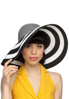 Brim and Proper Hat. Whether youre headed to an outdoor afternoon tea or shopping in a high-end neighborhood, this striped straw hat is a perfect way to add Hollywood glamour to your looks! Hat Hairstyles, Spring Trends, Hollywood Glamour, Pretty Outfits, Pretty Clothes, Retro Vintage, Hair Accessories, My Style, Modcloth
