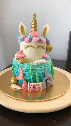 10 Birthday Cake, Unicorn Birthday Parties, Creative Pie Crust, Mermaid Cakes, Drip Cakes, Creative Cakes, Let Them Eat Cake, Cake Designs, Cupcake Cakes